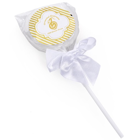 Lollipop with Metallic Foil Label - Gold Lines