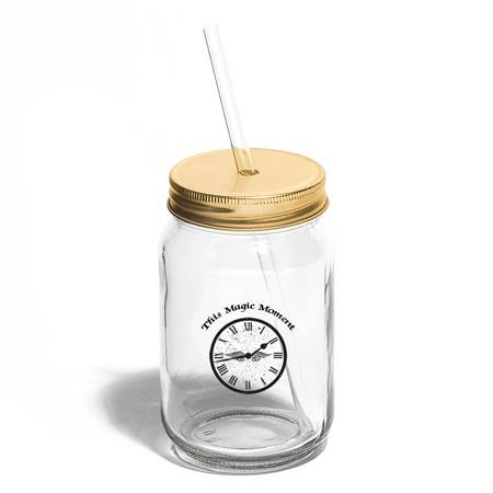 Mason Jar Tumbler With Gold Lid