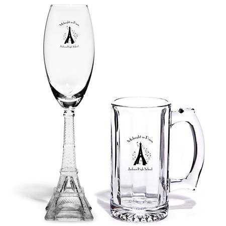 Eiffel Tower Flute/Waterloo Mug Set