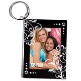 Silver Glitter Filigree Photo Key Chain