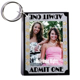 Admit One Glitter and Stars Photo Key Chain