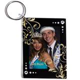 Gold Glitter Filigree Photo Key Chain