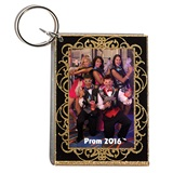 Golden Curly Swirly Photo Key Chain