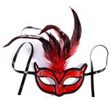 Red and Black Feathered Mask