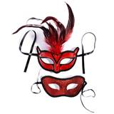 Red and Black Feathered and Glittered Mask Set