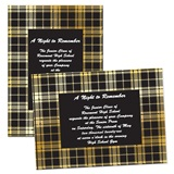 5x7 Invitation - Black and Gold Plaid