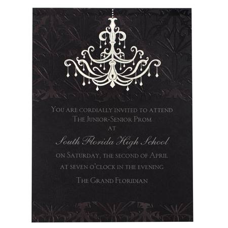 Chandelier Elegance Invitation With Red Wrap