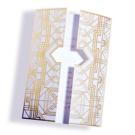 Art Deco Door Invitation - White