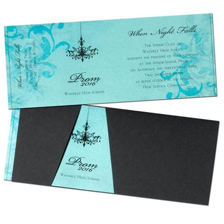 Black Wrap Invitation/Teal Insert