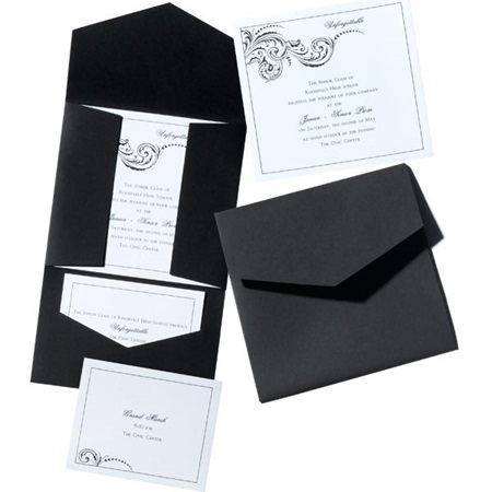 Silver Frond Invitations with FREE Ticket or Dance Card
