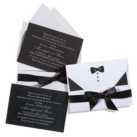 Unassembled Black Bow Tie Invitation