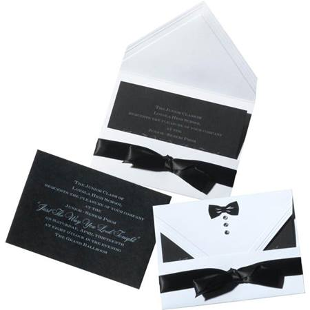 Assembled Black Bow Tie Invitation