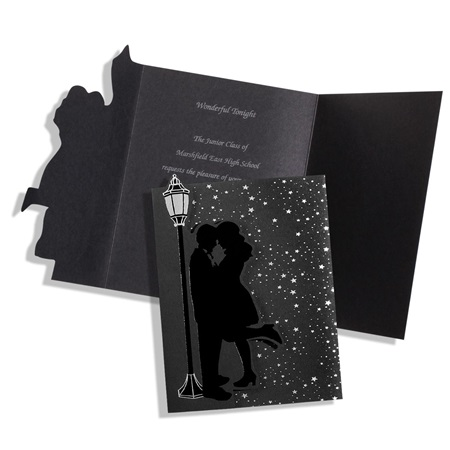 Silver Couple & Lamppost Invitation