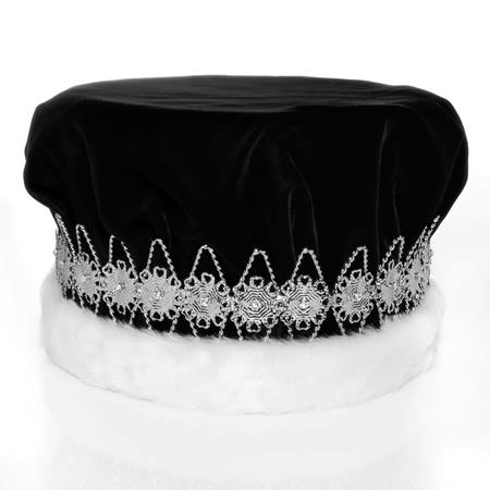 Majestic Black King Crown with Silver Band
