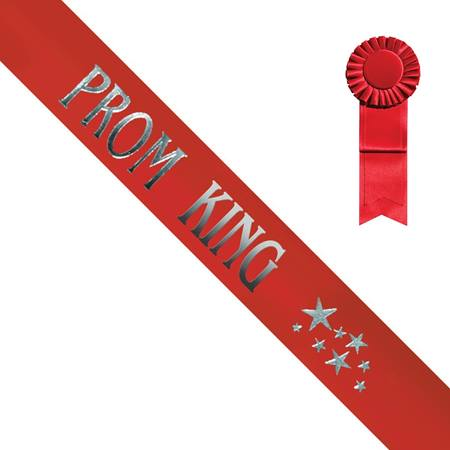 Red Prom King Sash With Silver Print and Stars