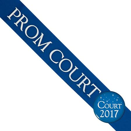 Prom Court Sash With Button - Blue