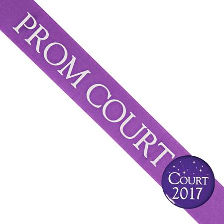 Prom Court Sash With Button - Purple