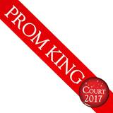 Prom King Sash With Button - Red