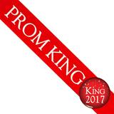 Prom King Sash with 2017 Button - Red